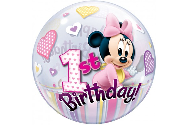Bubbles Minnie Mouse 1st Birthday Balloon