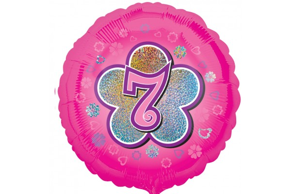 Pink Flowers 7th Birthday Balloon