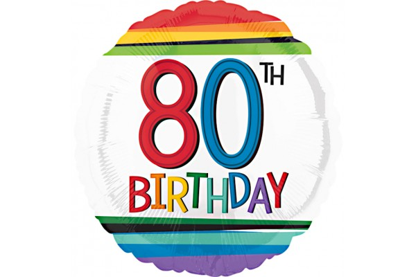 Rainbow 80th Birthday Balloon