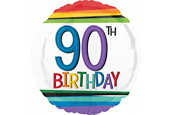Rainbow 90th Birthday Balloon