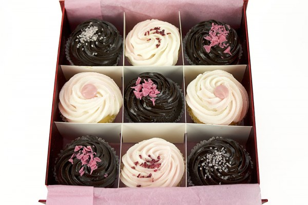 9 Tickled Pink Chocolate Cupcakes Gift Boxed