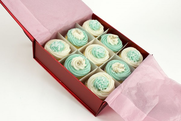 9 Cool Blue Cupcakes Gift Boxed