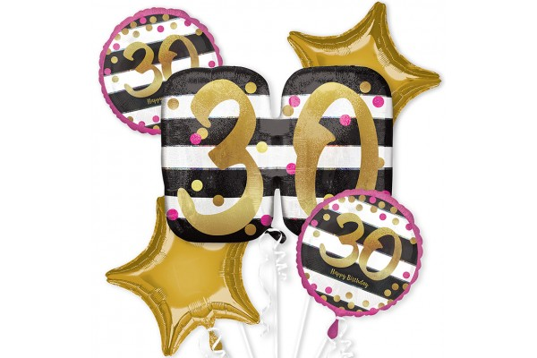 Pink and Gold 30th Birthday Balloon Bouquet