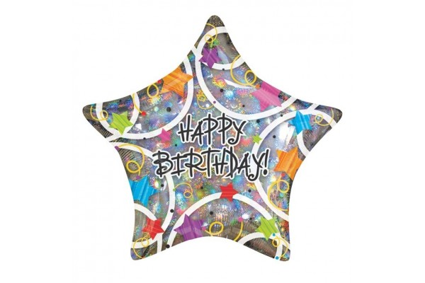 Happy Birthday Stars Shaped Balloon