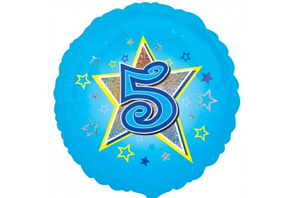Blue Stars 5th Birthday Balloon