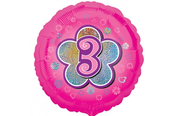 Pink Flowers 3rd Birthday Balloon