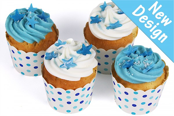 Cool Blue Little Celebration Cupcakes with Edible Stars - Box of 16