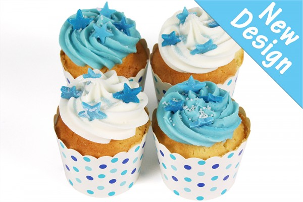 Cool Blue Little Celebration Cupcakes with Edible Stars - Box of 8